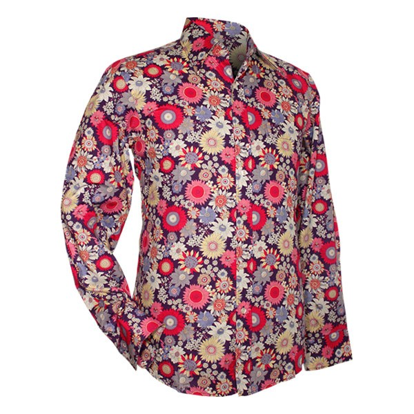 Chenaski overhemd seventies, Full on flowers, violet