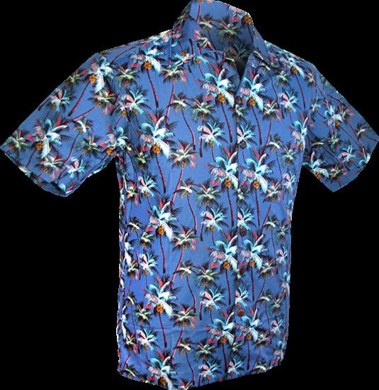 Overhemd korte mouw, Palmen blauw