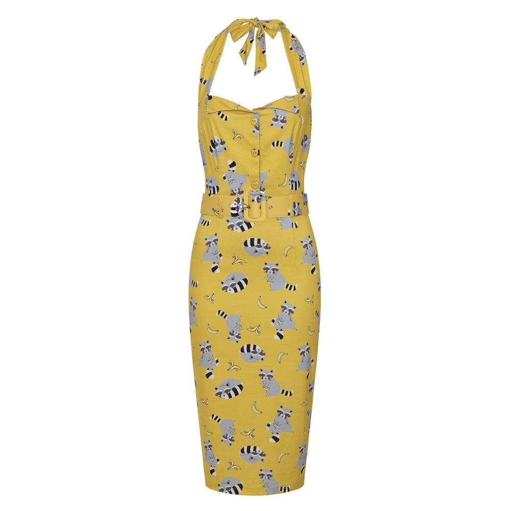 Collectif   Pencil jurk Wanda Ravenous geel met wasberen