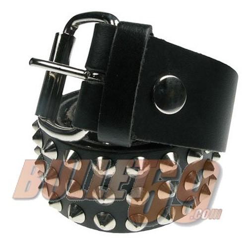 Leren riem, 38mm - zwart met 3 rijen zilverkleurige conical studs