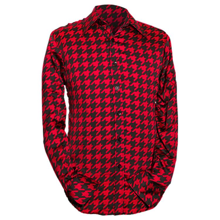 Chenaski   Rood zwart seventies overhemd Shinori satijnstof