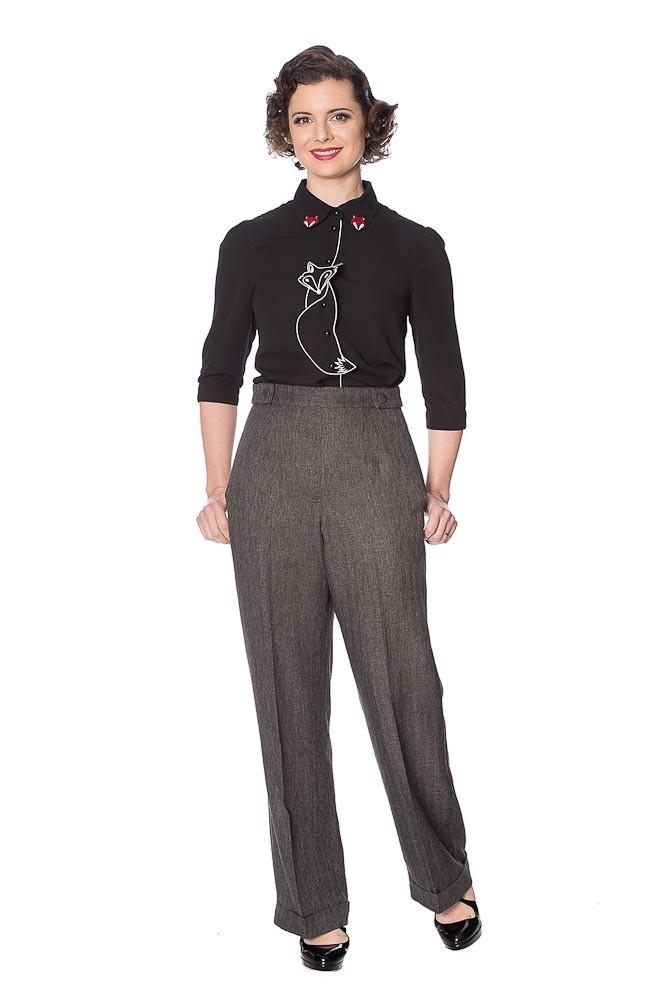 Broek Button, hoge taille, donkergrijs