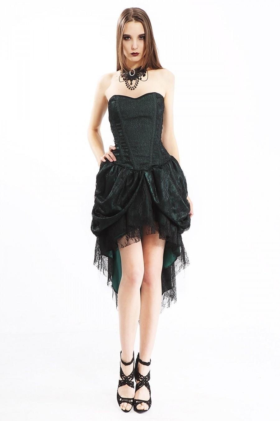 Jurk met corsettop, groen satijn met kant