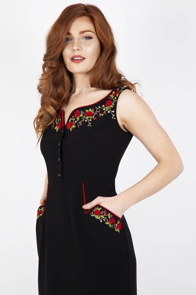 Penciljurk Rosalind, zwart met bloemen embroidery