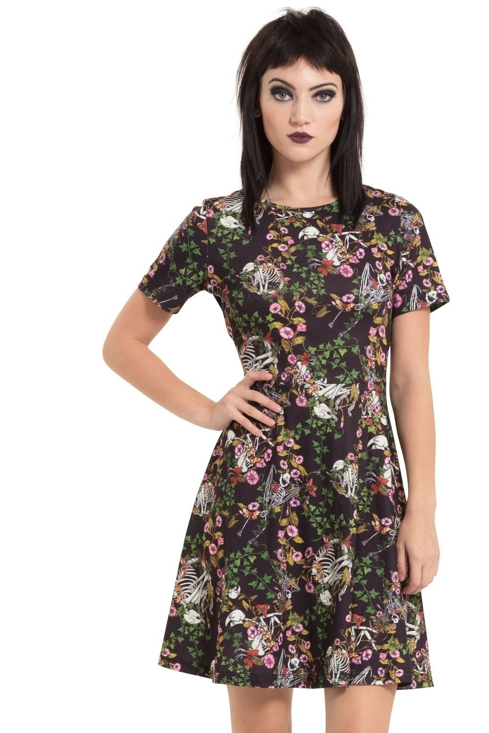 Jurk I don't want no shrub, bloemen en skeletten print