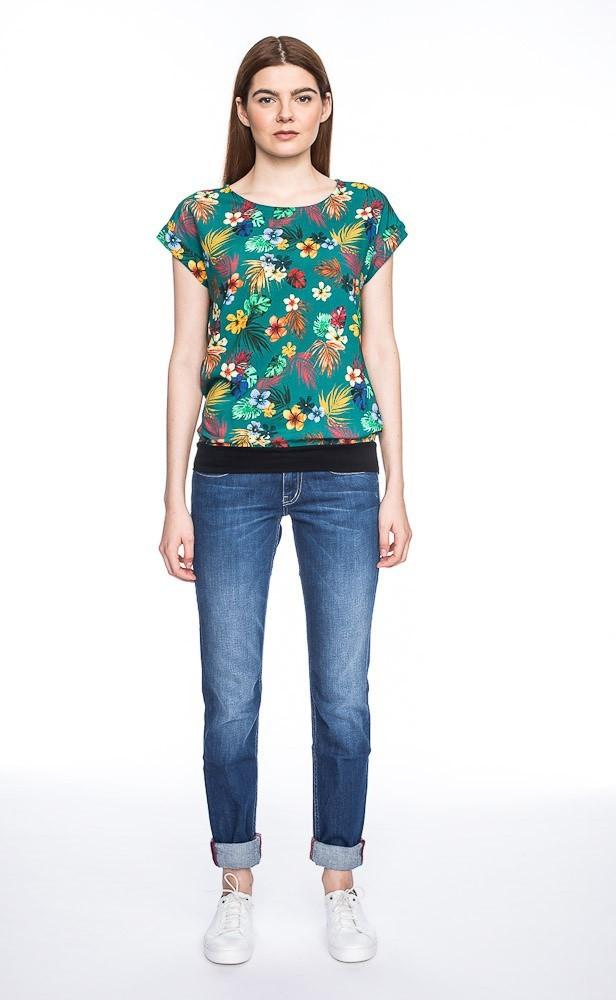 T-shirt Leo, groen met bloemenprint