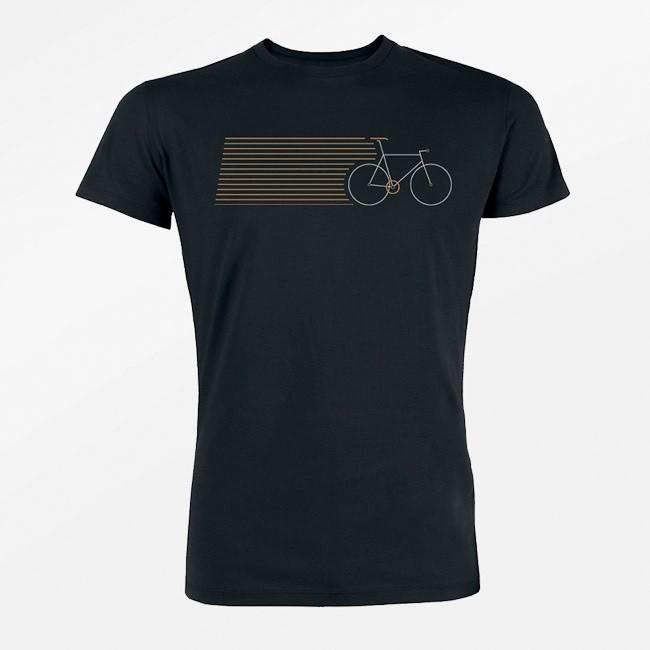 T-shirt Bike stripes, bio katoen zwart