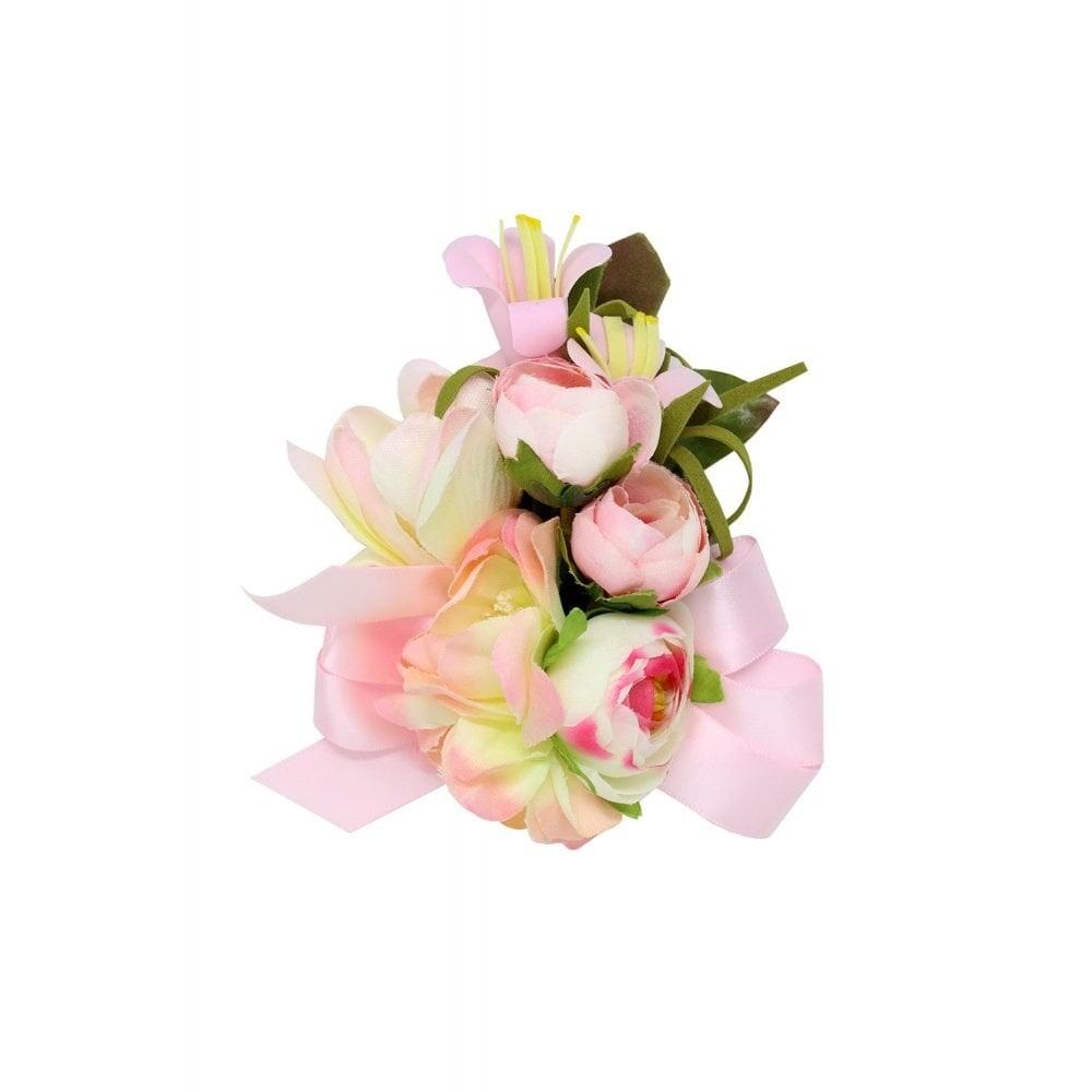 Haarclip/broche, roze bloemen met strik