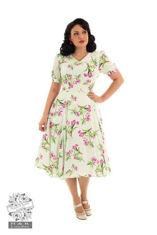 Hearts & Roses - Swingjurk Victoria, met roze bloemenprint, mintkleur