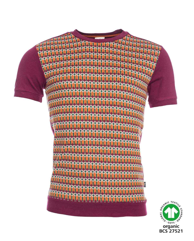 ATO Berlin, T-shirt Birk, retro patroon, aubergine oranje