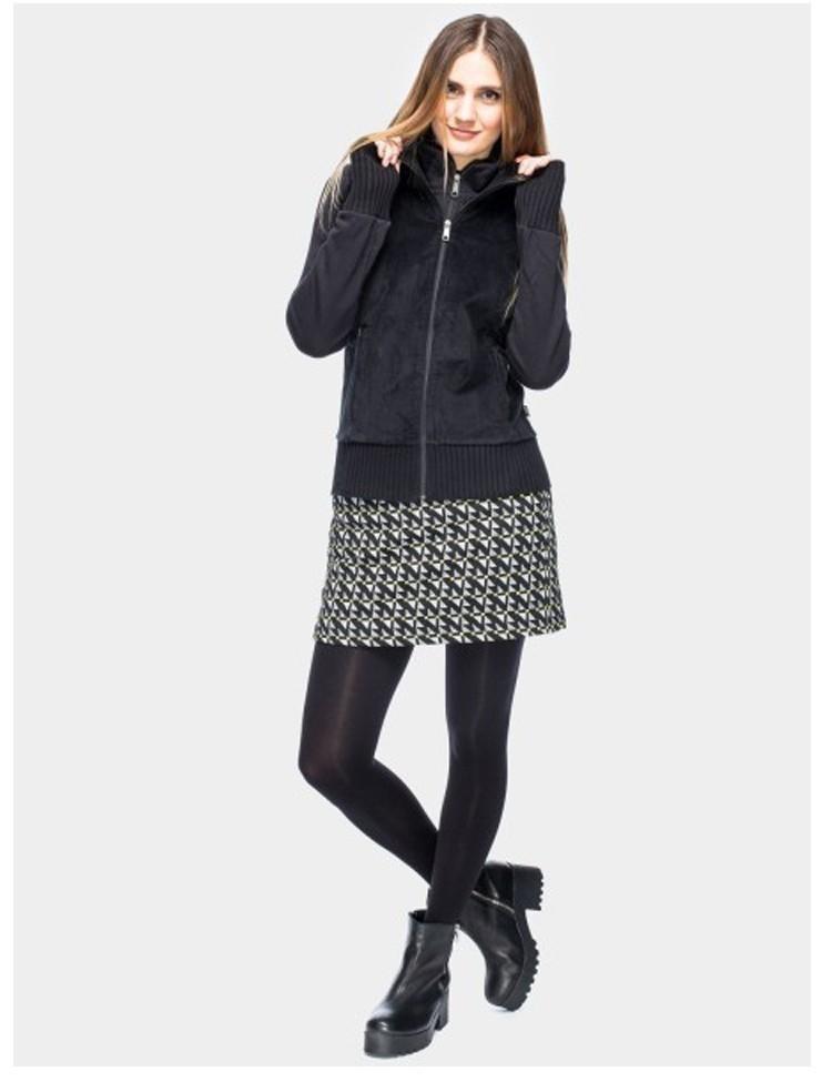 Ribcord jas Kite, met capuchon en dubbele rits, zwart