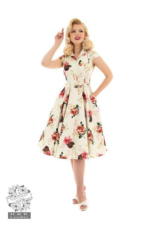 Hearts & Roses - Swing jurk Delilah met rozen print