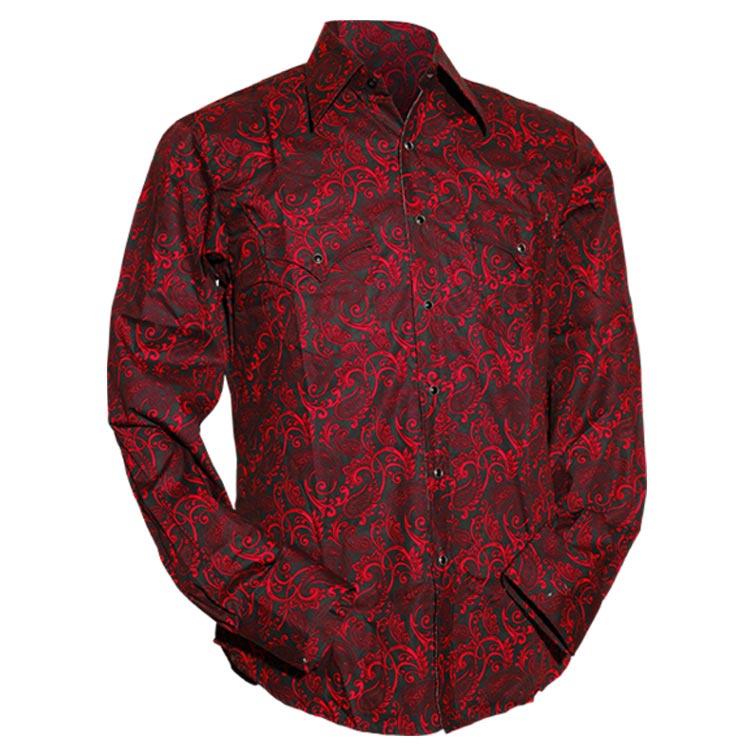Chenaski   Cowboy overhemd zwart rode Paisley Ornamentical