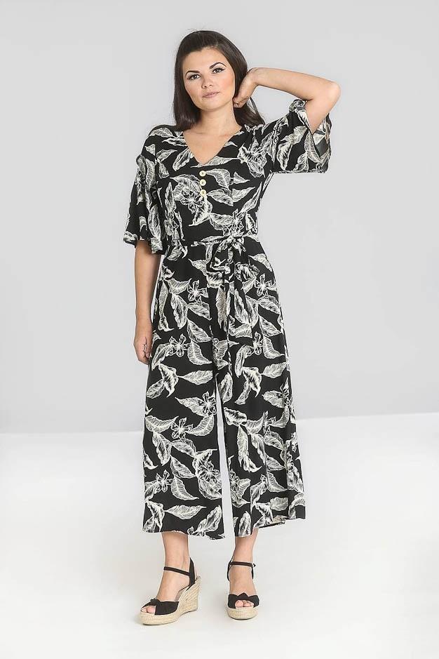 Jumpsuit Chiara, rustieke bladerenprint, met mouwen, zwart