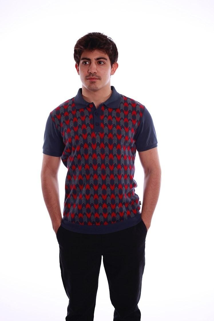 Polo Enzio, met blauw rood jaquardpatroon