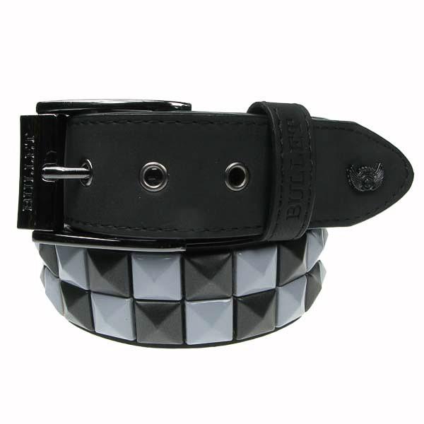 Bullet69 - Leren riem, 38mm - met zwarte en lila studs