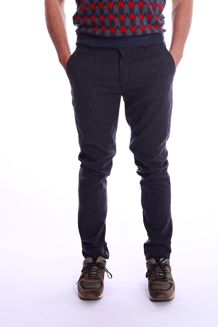 Pantalon Dino, blauw grijs geruit