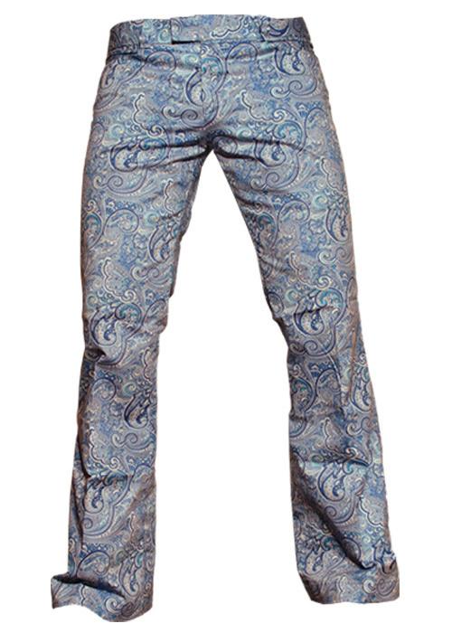 Chenaski | Blauwe paisley pantalon met uitlopende pijpen