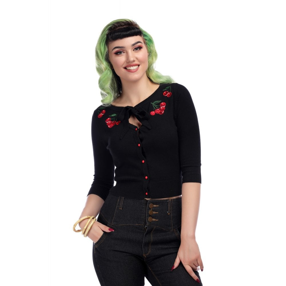 Collectif cardigan Charlene zwart kersen borduursel