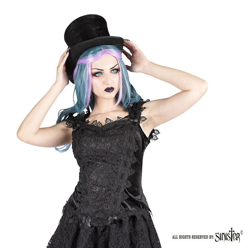 Top Scarlett, zwart fluweel met kant en satijn strikjes