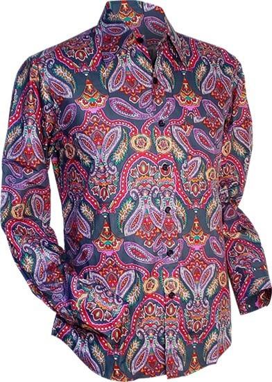Overhemd retro, big Paisley grijs lilac
