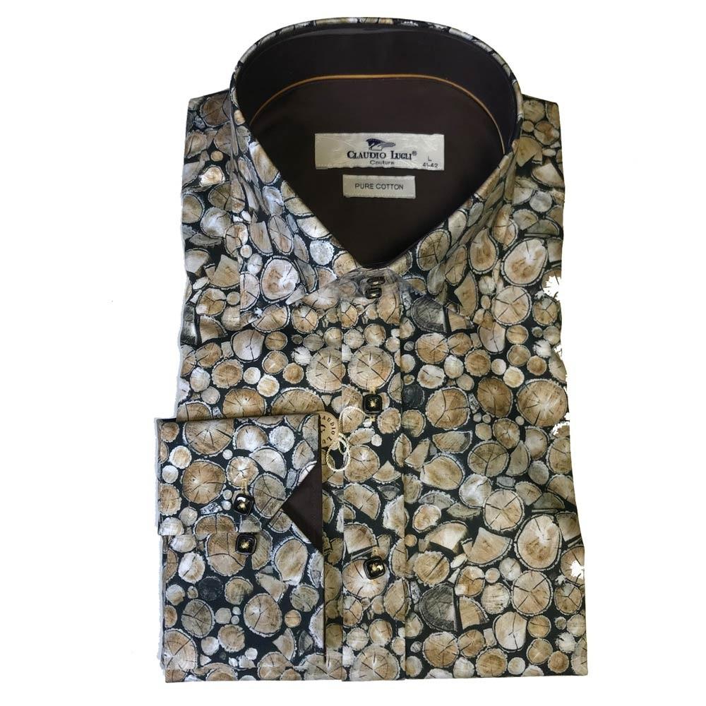 Overhemd lange mouw, stacked logs