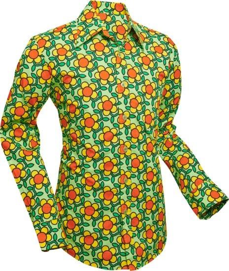 Overhemd Seventies Flowergrid, green