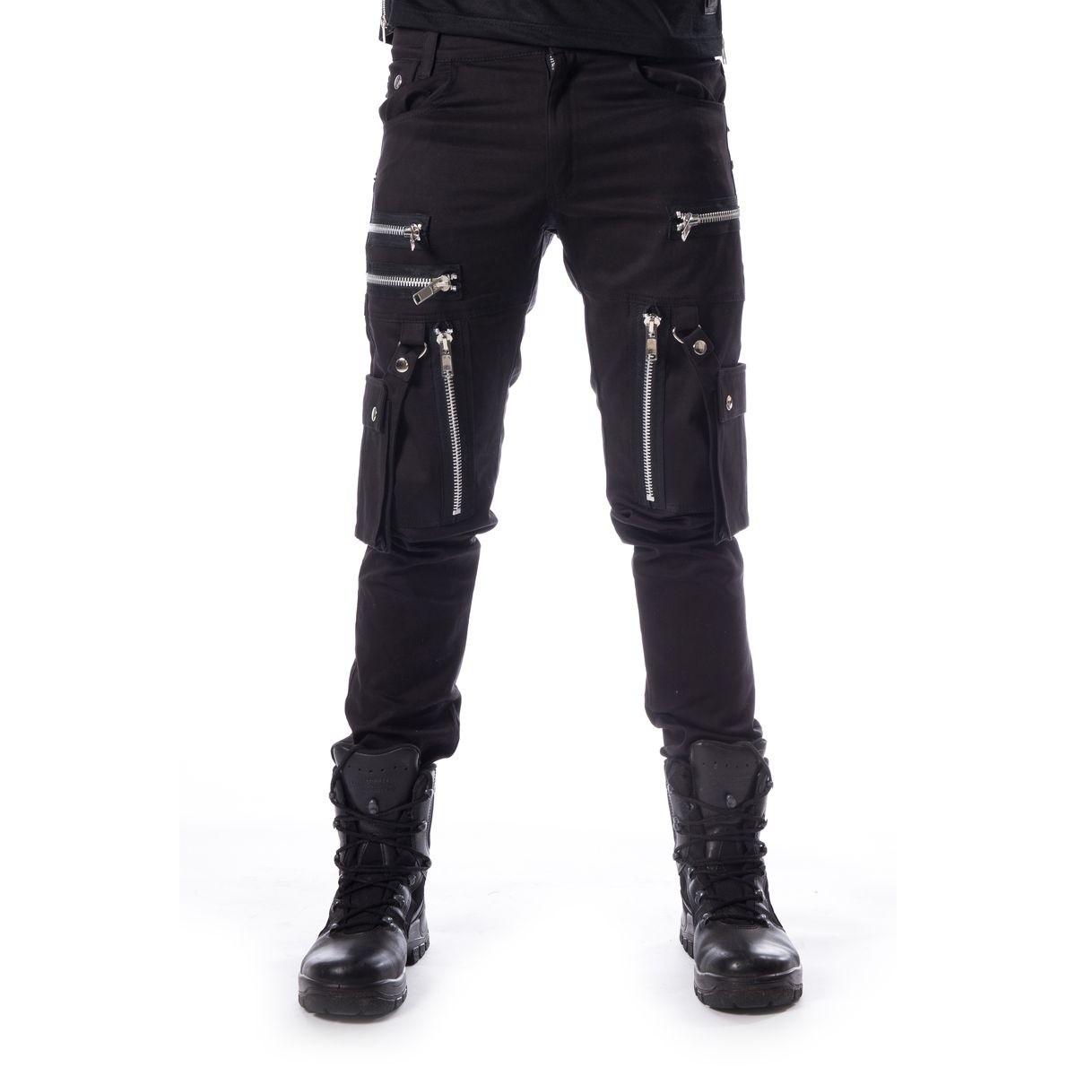 Broek Andre zwart met ritsen en afneembare zakken