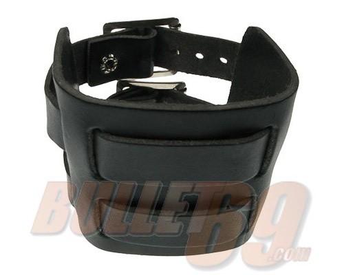 Leren polsband, 70mm - zwart doorwoven met twee bandjes-18mm