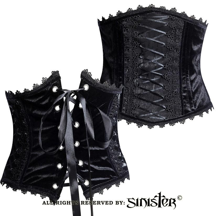 Corset-riem Victoria, zwart fluweel met kant, satijn en lintdetails