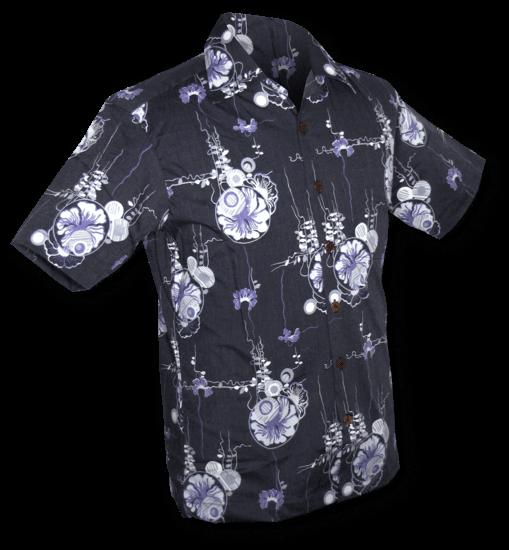 Overhemd korte mouw Japanese Leaves blauw