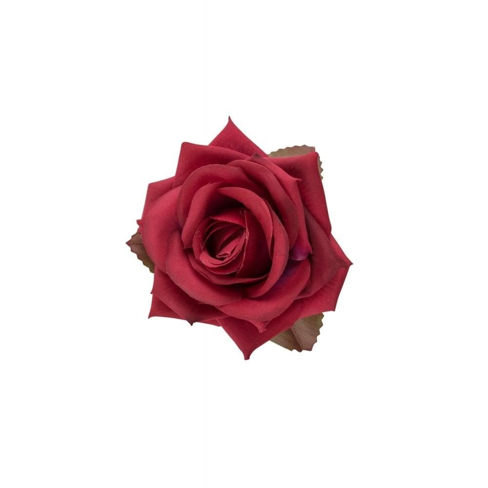 Haarclip Collectif, burgundy roos