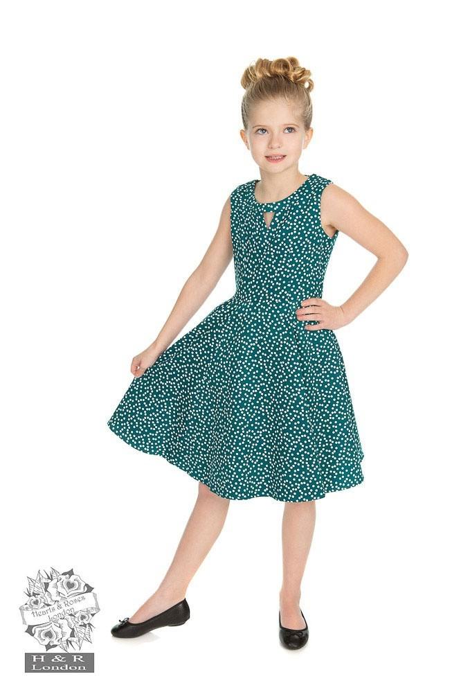Kinderjurk La Rosa, turquoise met snowflakes polkadots