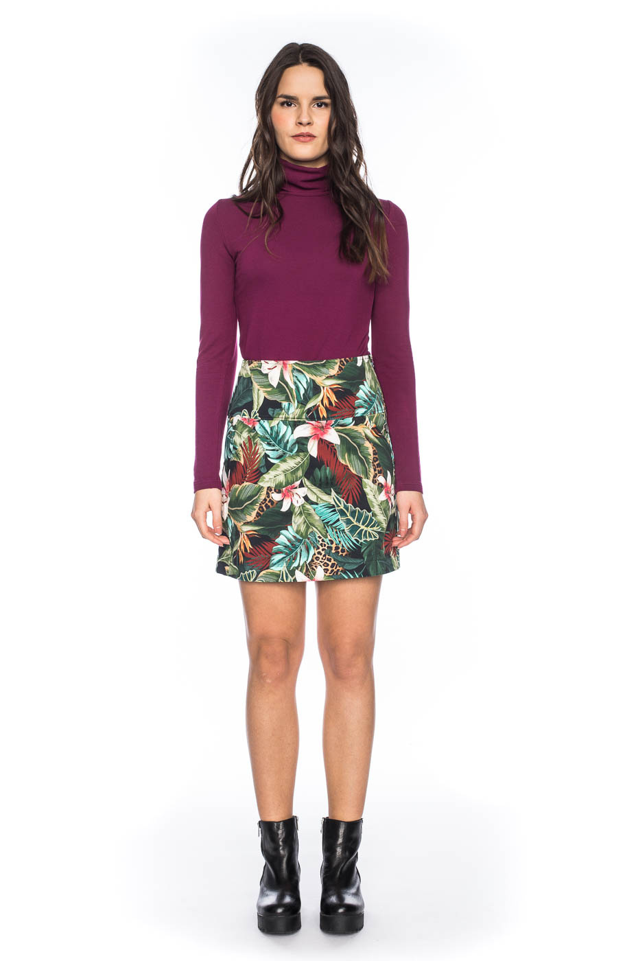 Rok Hilly, high waisted, jungle patroon, multikleur