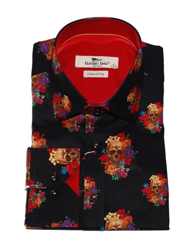 Heren Overhemd Bloemenprint.Overhemd Skull Bloemenprint Zwart Claudio Lugli Online Kopen
