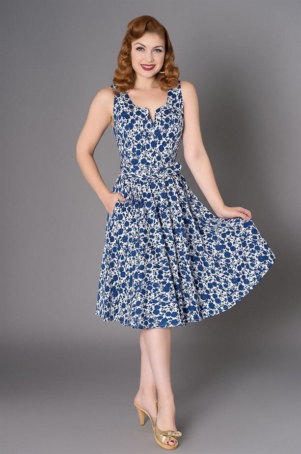 Jurk Mina, wit blauwe bloem silhouet print