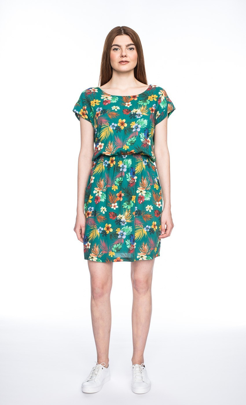 Jurk Milou, groen tropische bloemen print