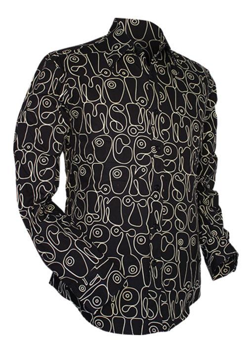 Chenaski   Zwart wit seventies overhemd Moloko