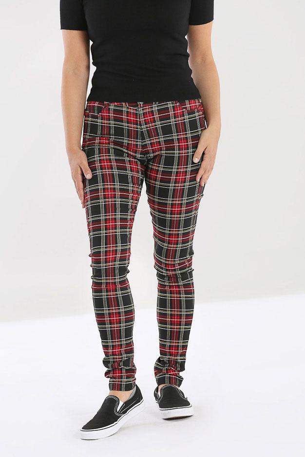Hell Bunny   Skinny broek Clash rood zwart tartan