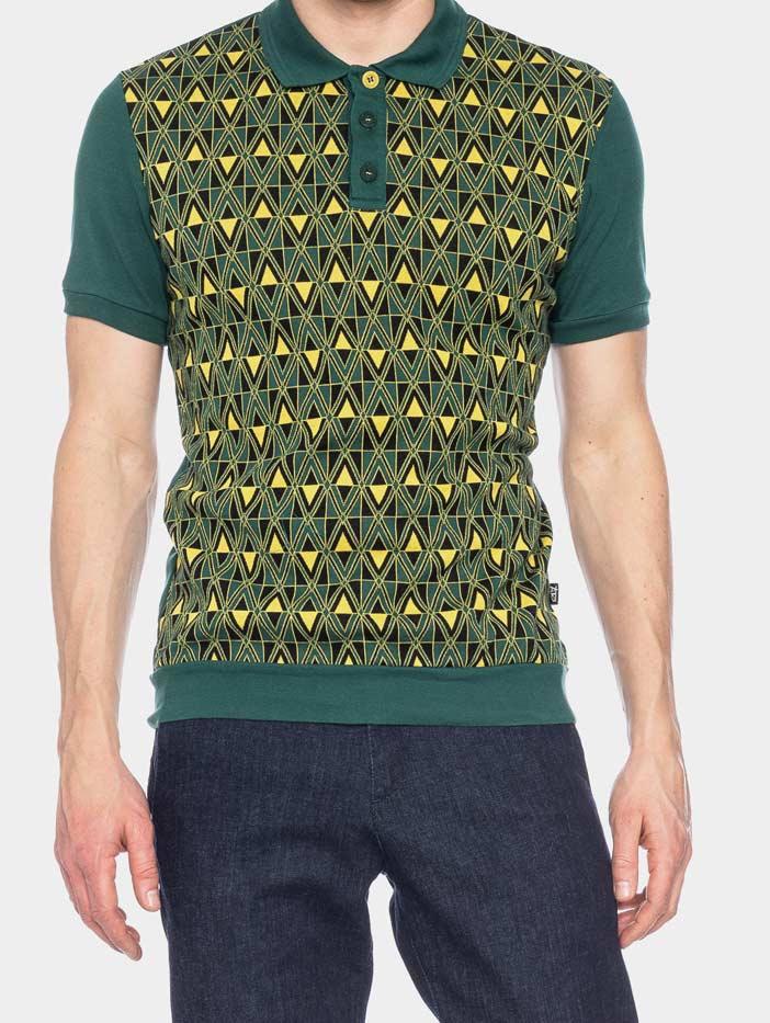 ATO Berlin | Polo Enzio, jacquard patroon, groen geel