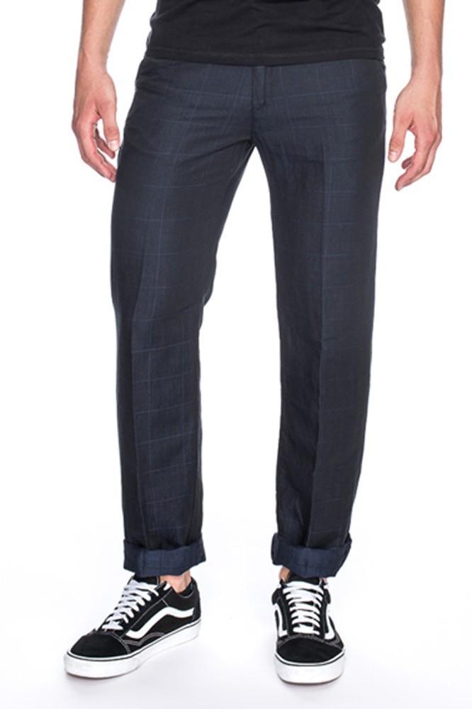 Pantalon Jorjo, donkerblauw met grote ruit