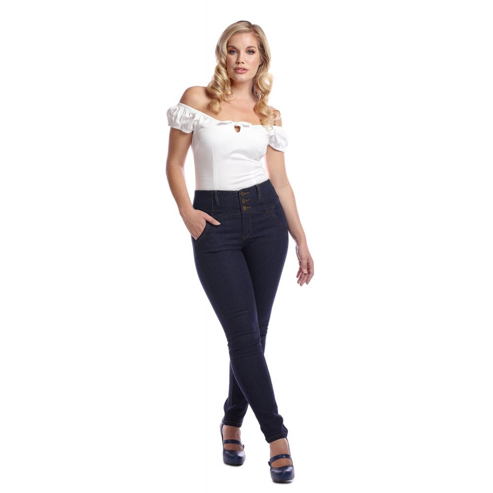 Collectif | Jeans Rebel Kate, effen stretch denim, hoge taille