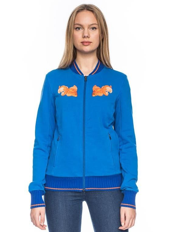 Sportjas Anne, helder blauw bio katoen goudvis borduursel