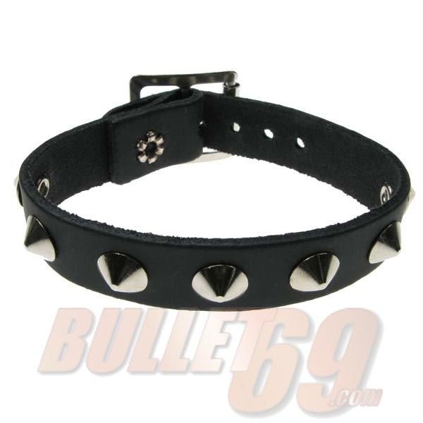 Bullet69 - Leren polsband, 18mm - zwart met zilveren conical studs