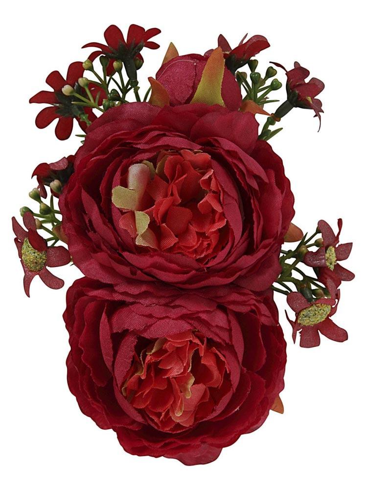 Collectif - Haarbloem en broche Lorna, rode bloemen