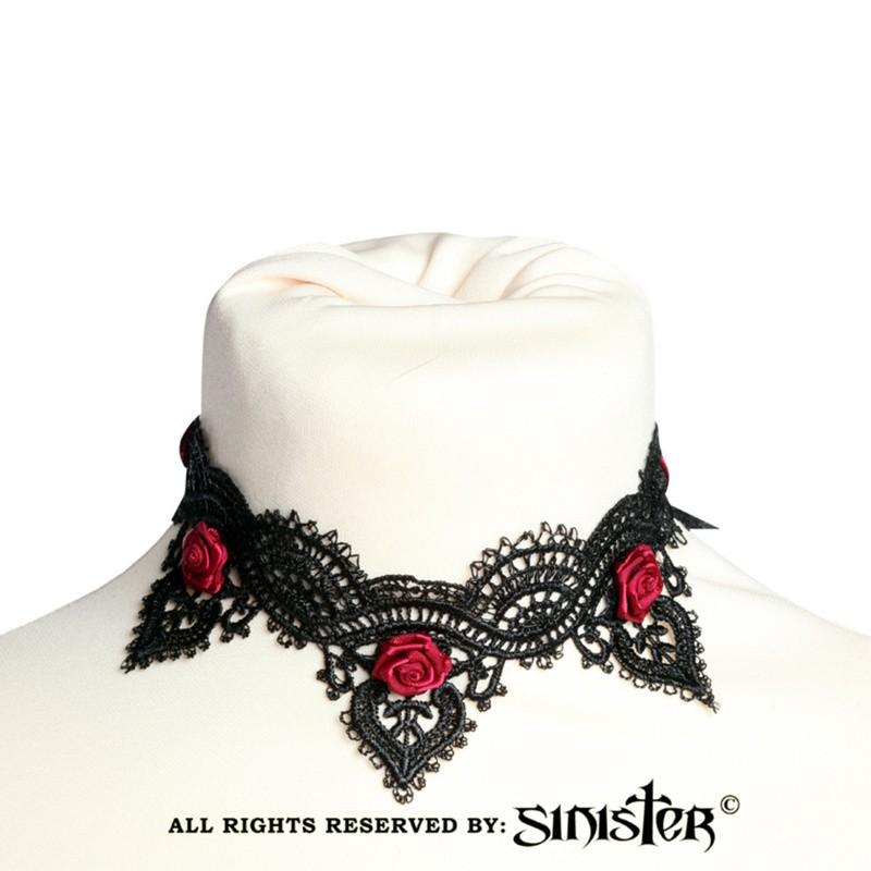 Sinister - Choker Evi, kant met rode satijnen roosjes