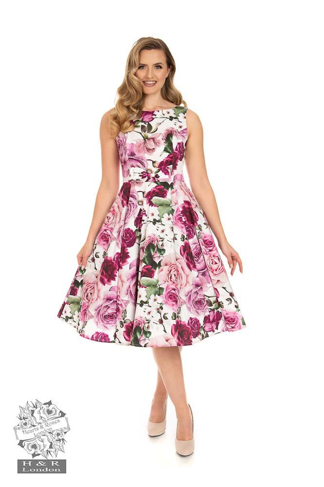 Hearts & Roses | Alice, swing jurk met roze rozen