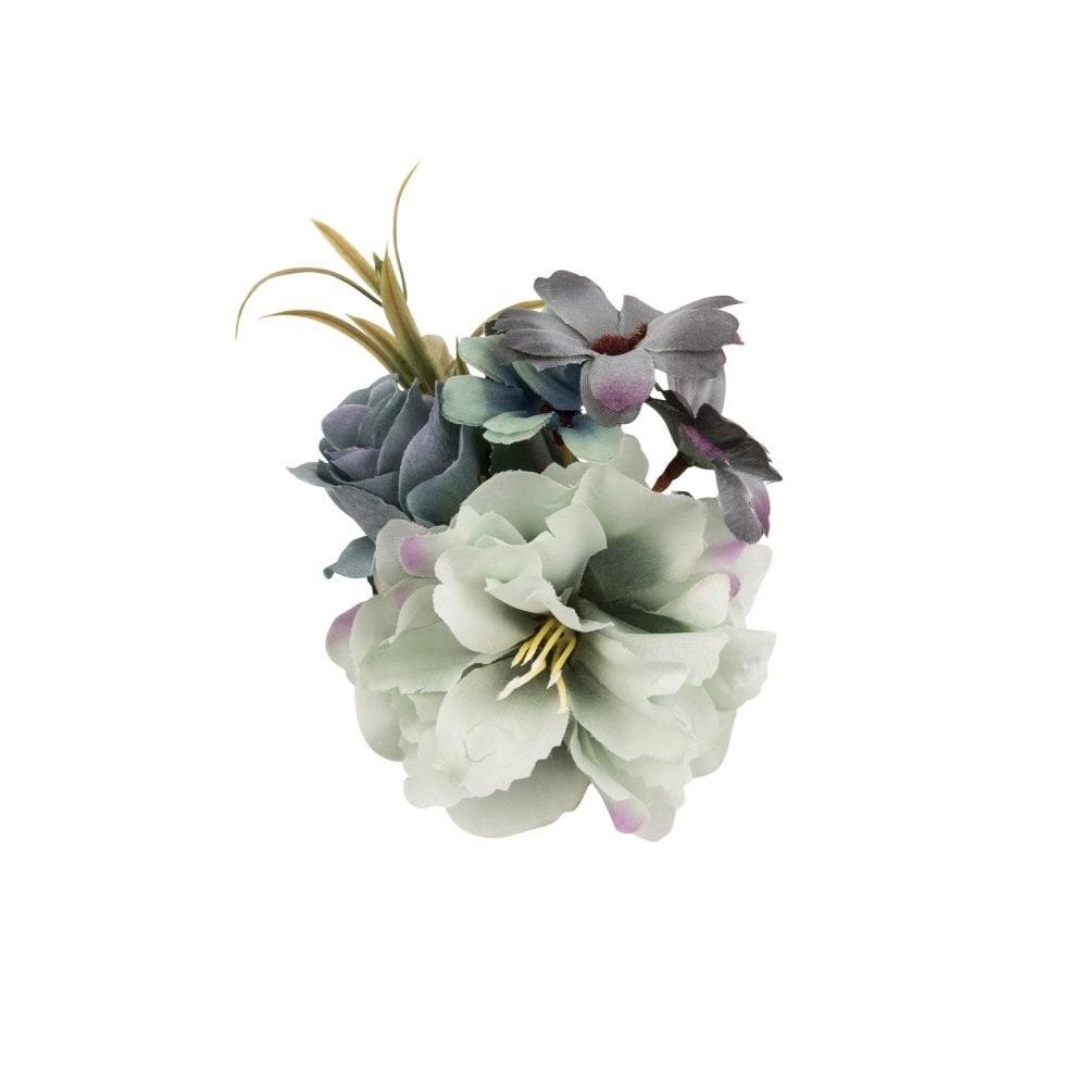 Haarclip/broche, met blauw-grijze bloemen