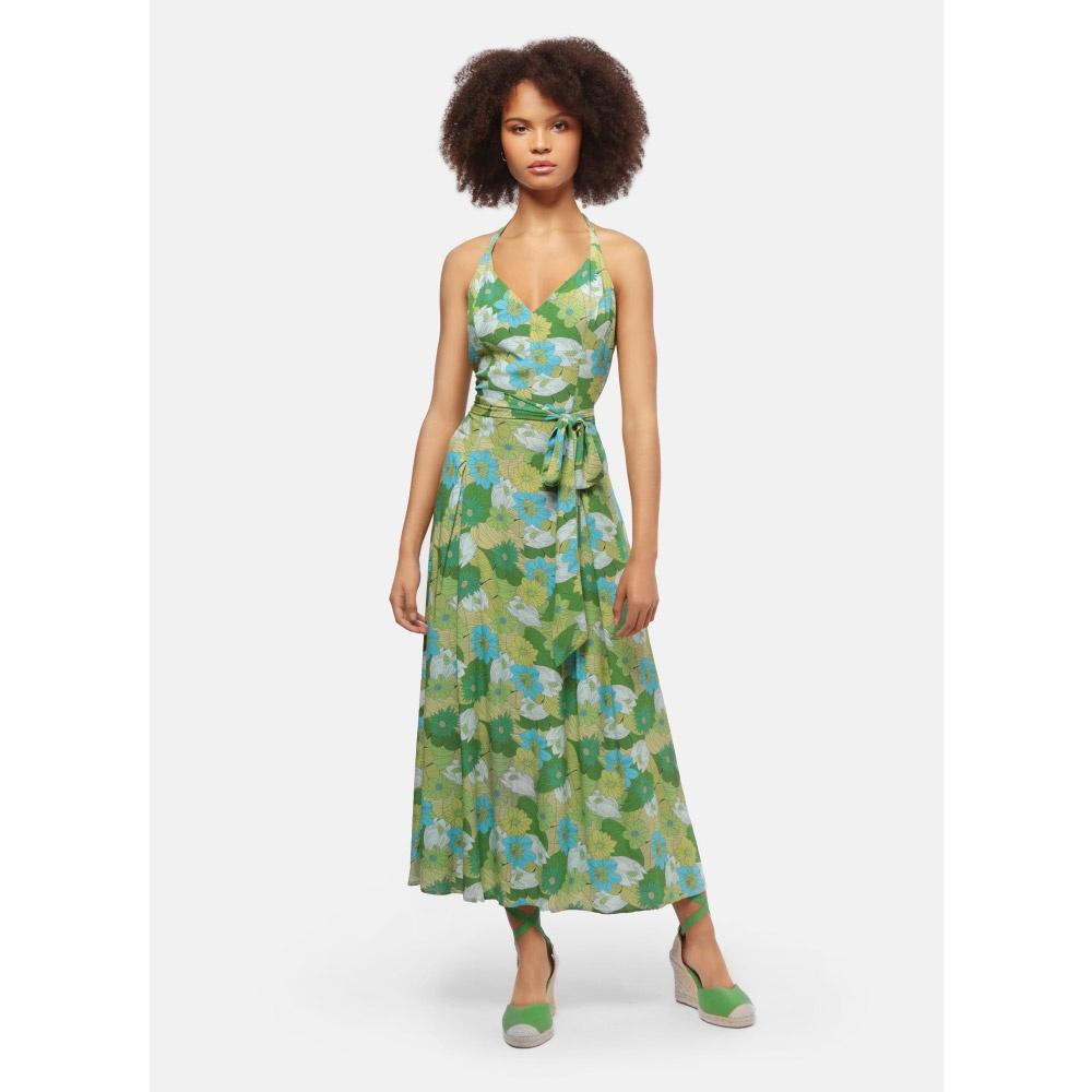 Collectif   Jurk Jayleen Floral Palm groen