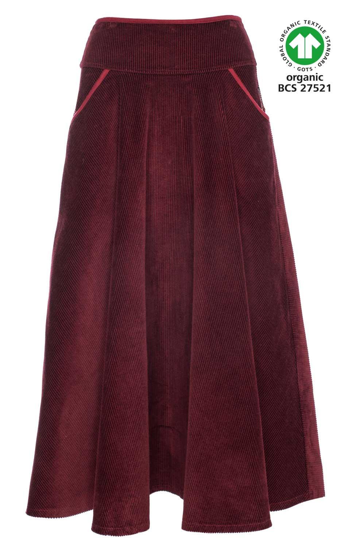 Rok Marta, bordeaux rood breed ribcord, lang model